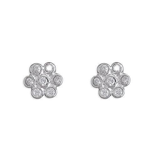 Silver crystal daisy studs