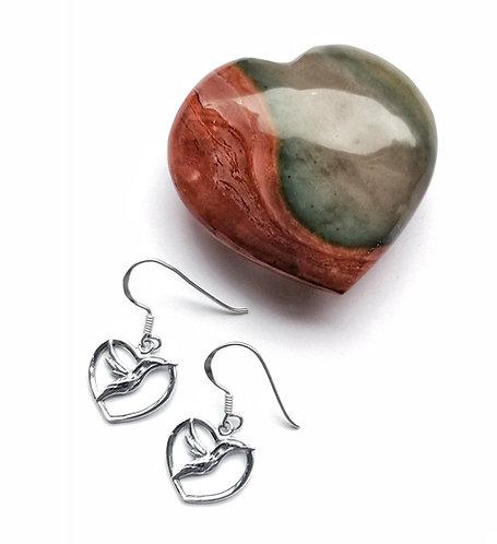 Silver hummingbird heart earrings