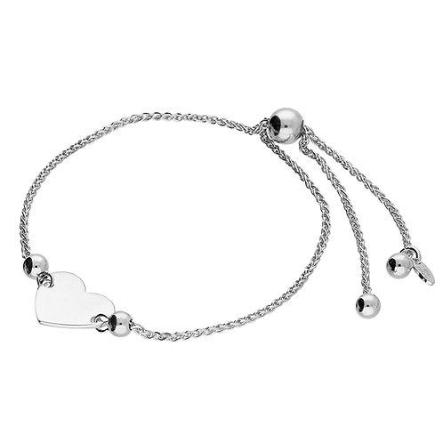 Silver slider heart bracelet