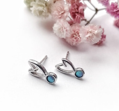Silver & opalite heart stud earrings