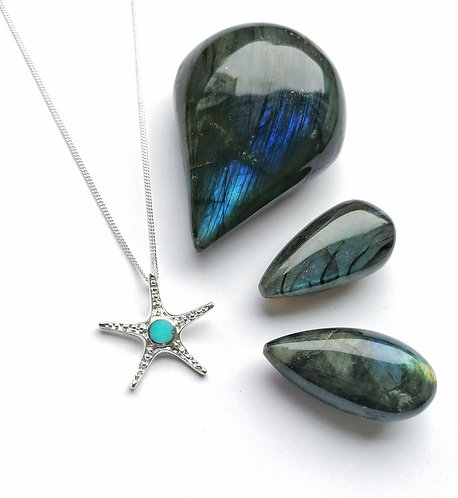 Silver & turquoise starfish necklace