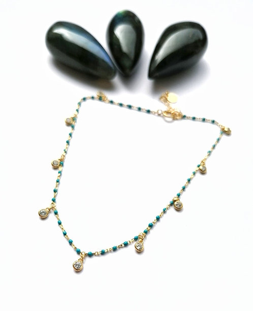 Silver & gold vermeil crystal turquoise anklet