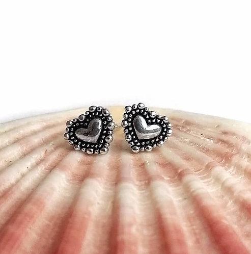 Silver bubble heart stud earrings