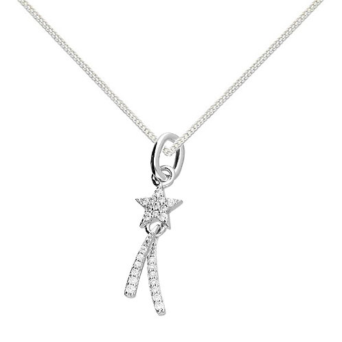 Silver shooting star crystal necklace
