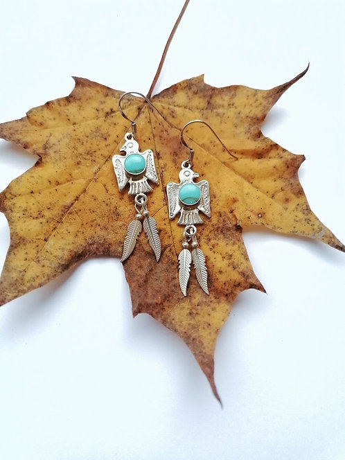 Silver & turquoise firebird earrings