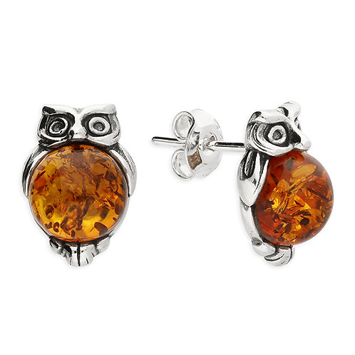 Silver & amber owl studs