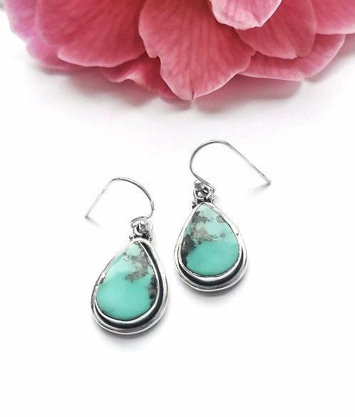 Silver boulder turquoise teardrop earrings