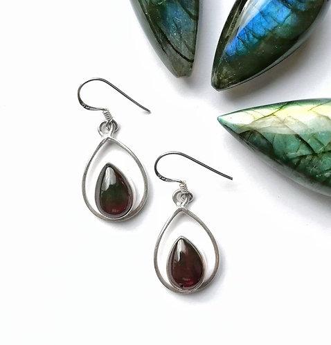 Silver & Garnet double teardrop earrings
