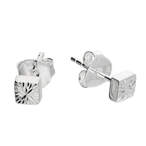 Silver textured cube studs