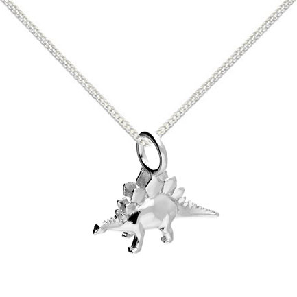 Silver small stegosaurus necklace