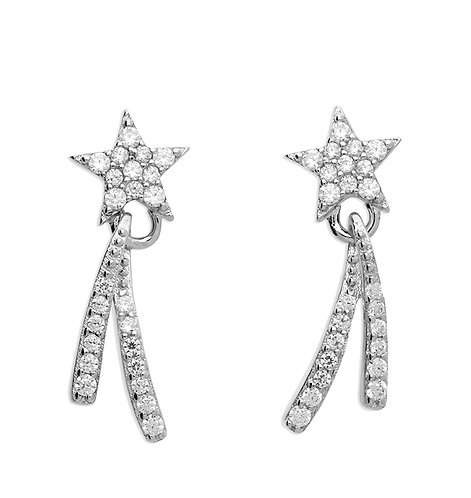 Silver shooting star crystal studs