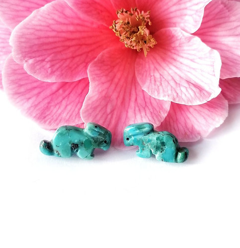 Gorgeous turquoise & silver navajo bunny stud earrings