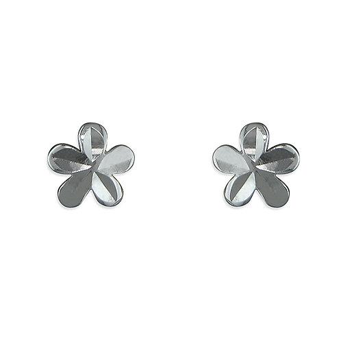 Silver five petal flower studs
