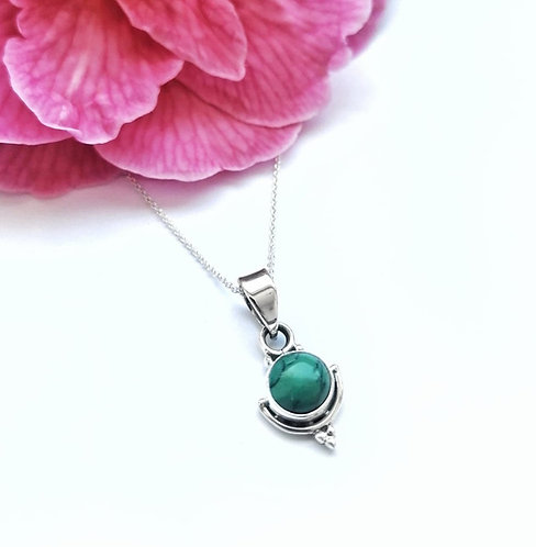 Silver & turquoise round detail necklace