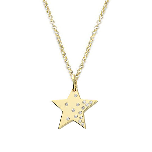 Silver & gold vermeil scattered crystal star necklace