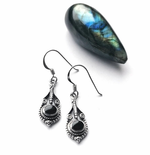 Silver & black onyx detailed drop earrings