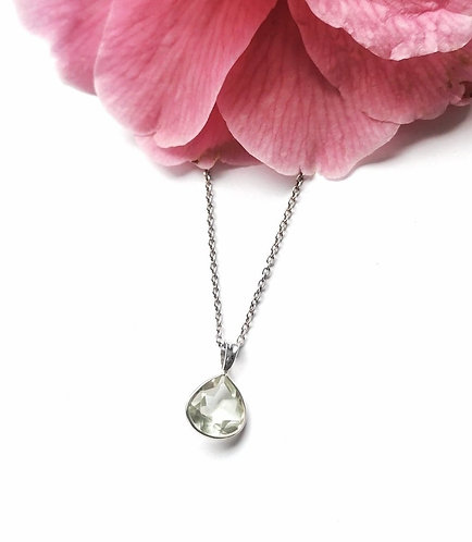 Silver & green amethyst faceted necklace