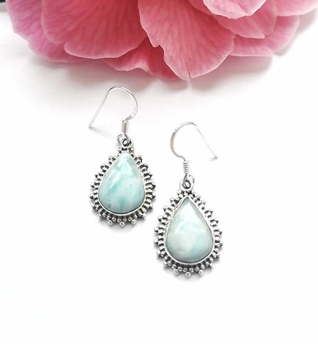 Silver lavish Larimar detailed earrings