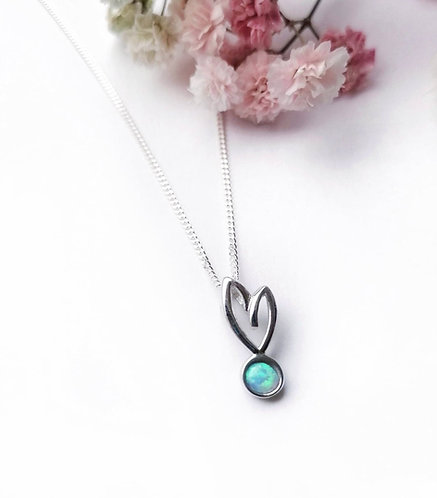 Silver & opalite heart necklace