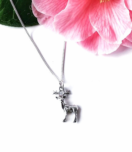 Silver deer necklace