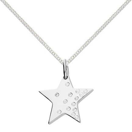 Silver scattered crystal star necklace