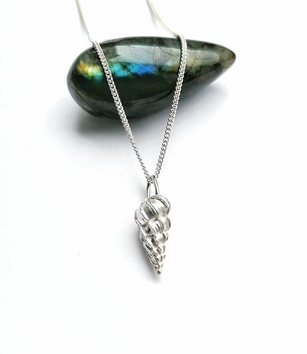 Silver twist shell necklace
