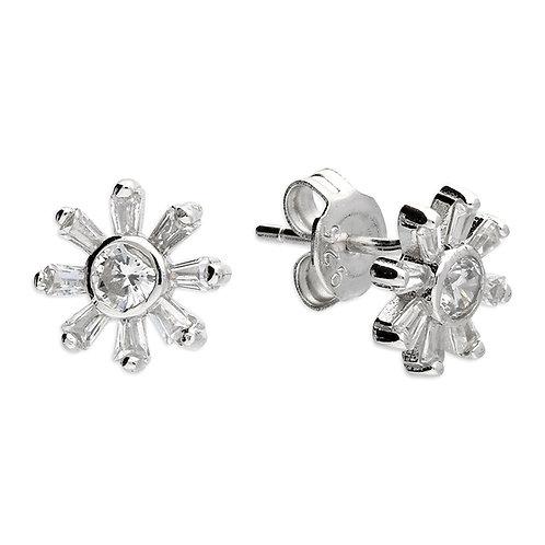 Silver multi sparkle crystal studs