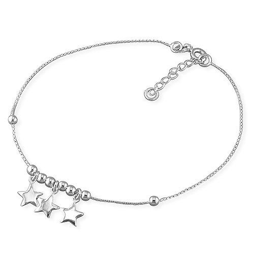 Silver triple star anklet