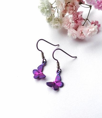 Titanium butterfly purple earrings