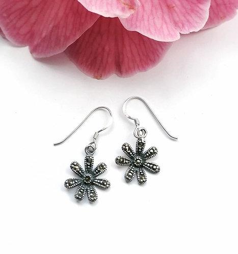 Silver & marcasite daisy earrings