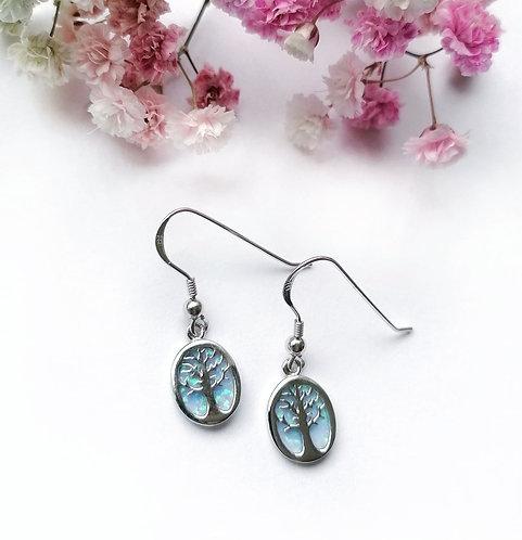 Silver & opalite tree earrings