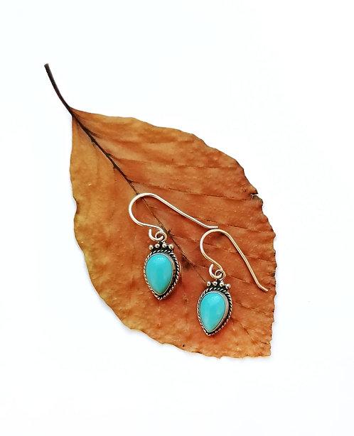 Silver & turquoise detail teardrop earrings