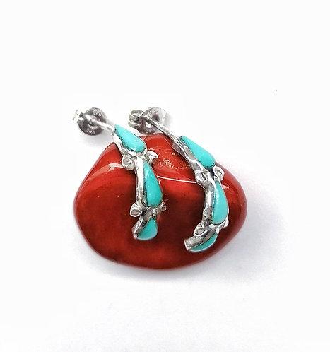 Silver & turquoise half hoop stud earrings