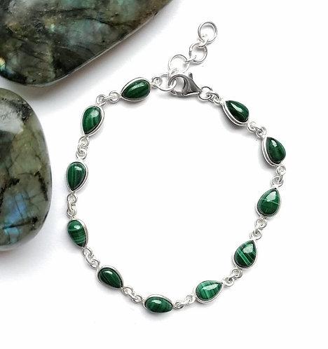 Silver & malachite bracelet
