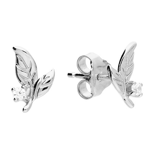 Silver leaves with crystal studs