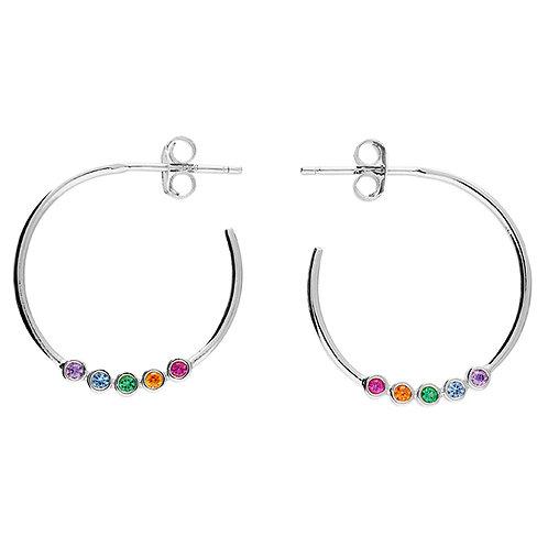 Silver & rainbow crystal hoop earrings