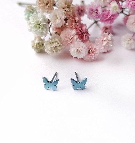 Titanium mini butterfly light blue stud earrings