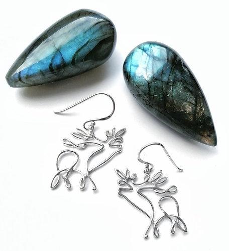 Silver scribble deer earrings