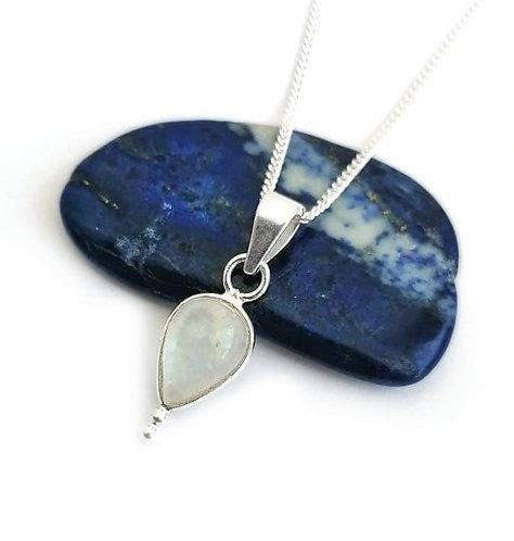 Silver & moonstone detail drop necklace