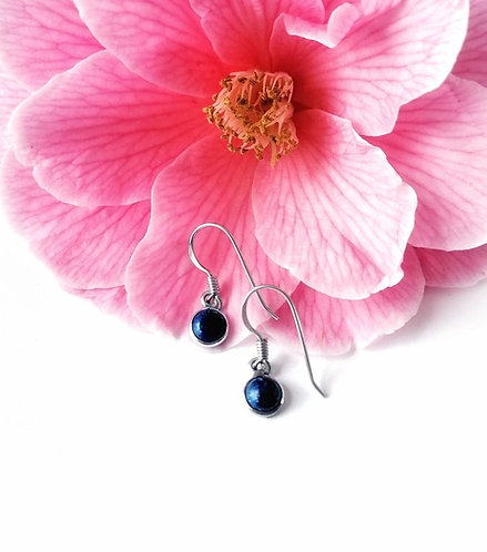 Silver & lapis mini droplet earrings