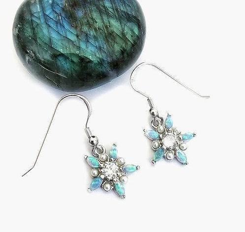 Silver opalite, pearl & crystal flower earrings