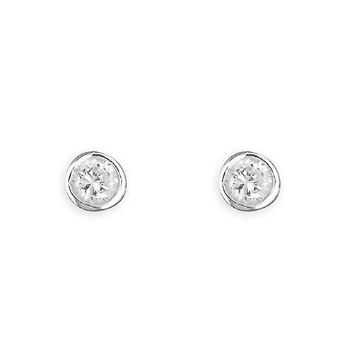 Silver simple crystal studs