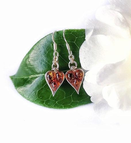 Silver & multi amber set heart earrings