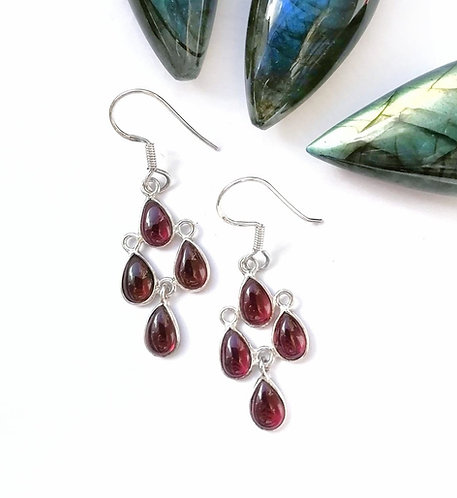 Silver & Garnet multi droplet swinging earrings