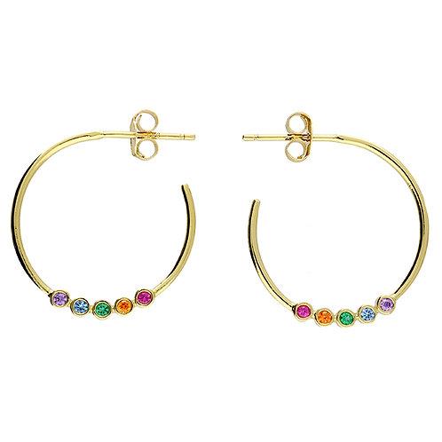 Silver & gold vermeil rainbow crystal hoop earrings
