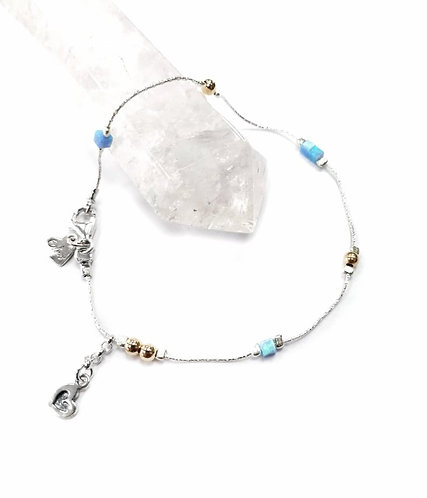 Luxury silver, opalite & gold anklet with heart detail