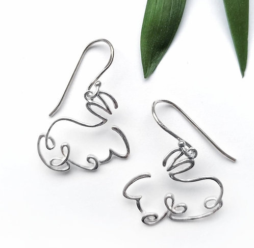 Silver rabbit scribble earrings