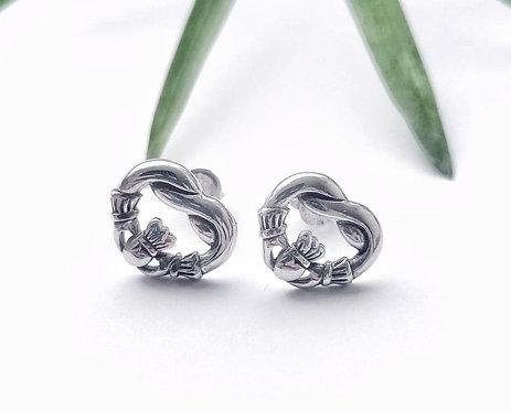 Silver claddagh stud earrings