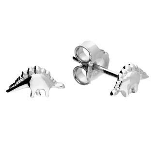 Sterling silver mini stegosaurus stud earrings.