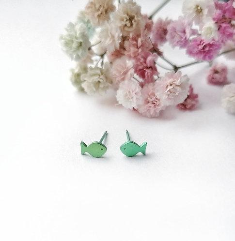 Titanium mini green fish stud earrings
